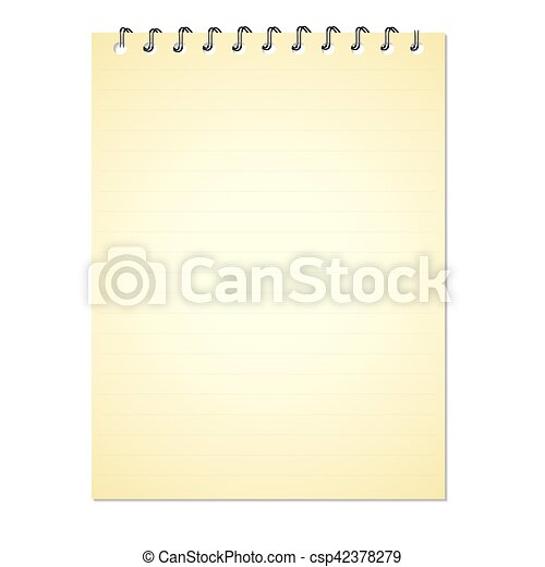Note book paper isolated on white background - csp42378279