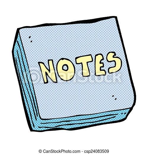 note, cuscinetto, comico, cartone animato - csp24083509