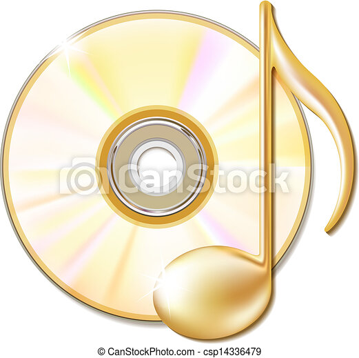 note, disque, musical, or, cd - csp14336479