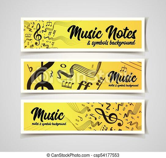 note, doghe, simboli, vettore, musica, illustrazione, musicale - csp54177553