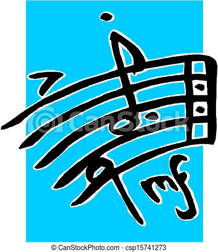 note, musicale, fondo, personale - csp15741273