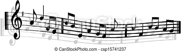 note, musicale, fondo, personale - csp15741237