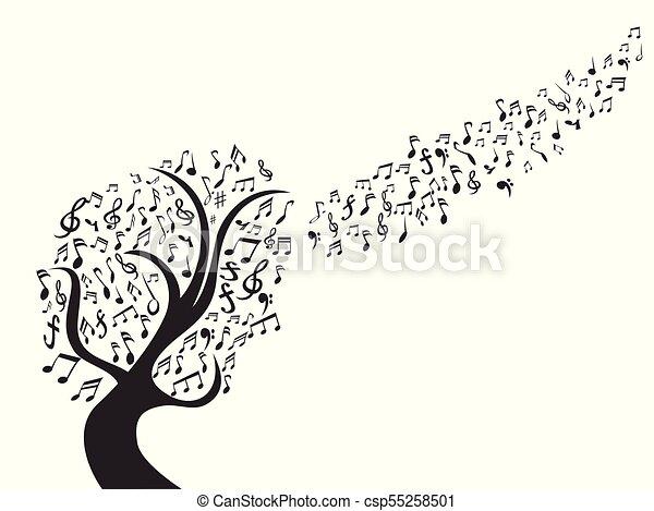 Note Noir Musique Arbre Arbre Isole Note Musique Fond