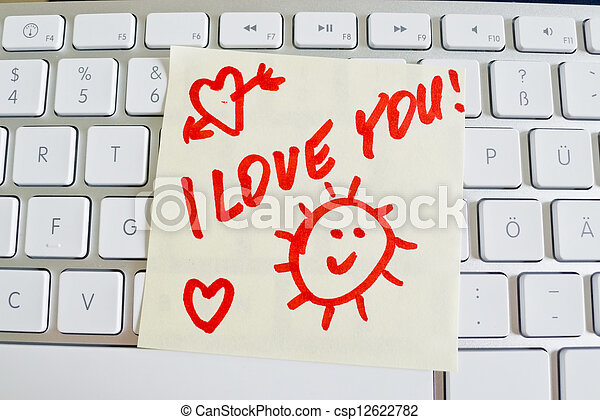 note on computer keyboard: i love you - csp12622782