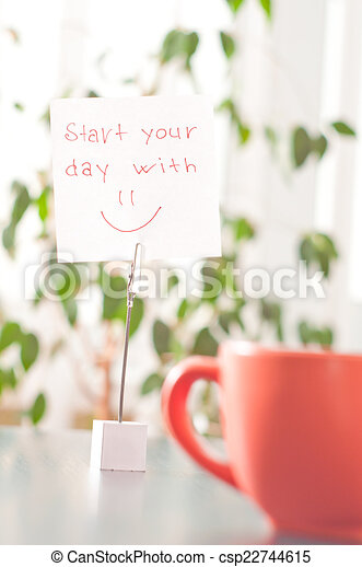Note On The Table Start Your Day With Smile A Note On The Table