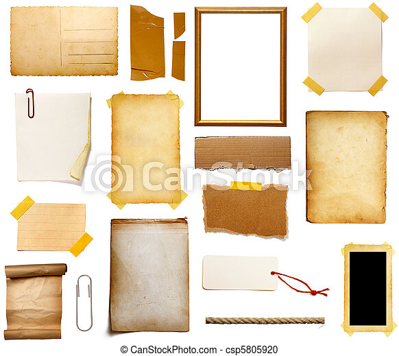 note papel, grunge, pedazo - csp5805920