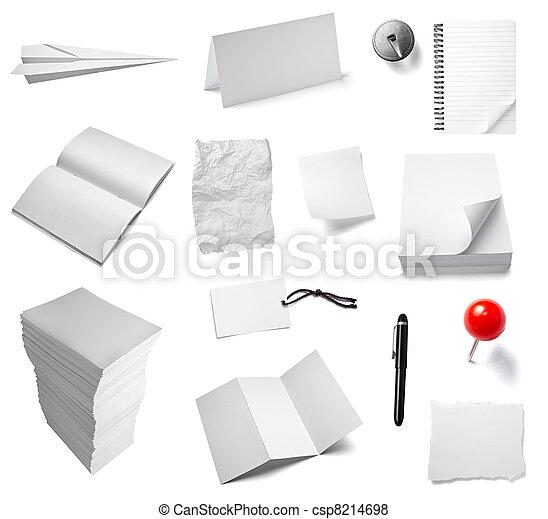 note papel, oficina, cuaderno, documento - csp8214698