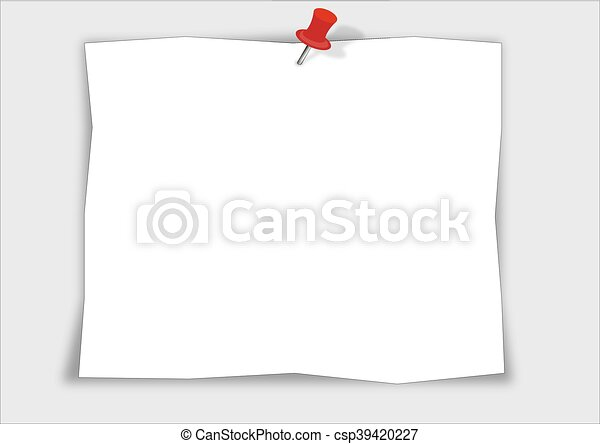 note paper with red push pin isolated on white background - csp39420227