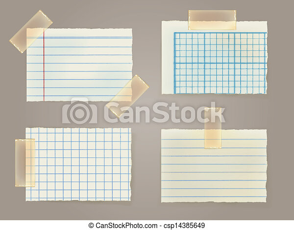 Note Papers with a sticky tape stuc - csp14385649