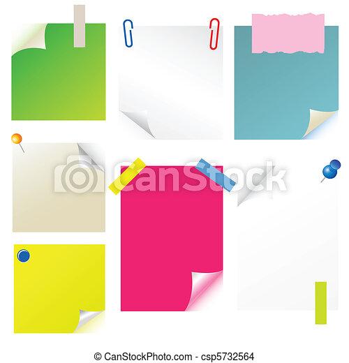 note, papier, sticker, postit set - csp5732564