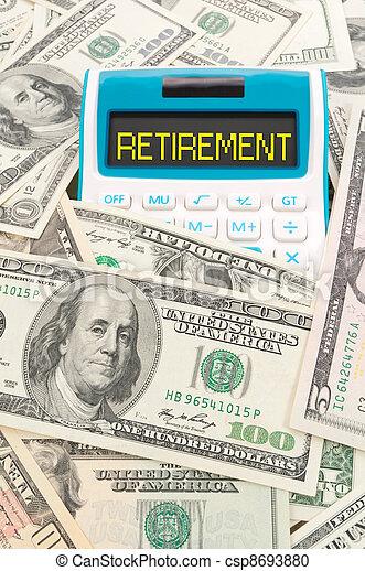 note, pensionamento, parola, americano, calulator - csp8693880