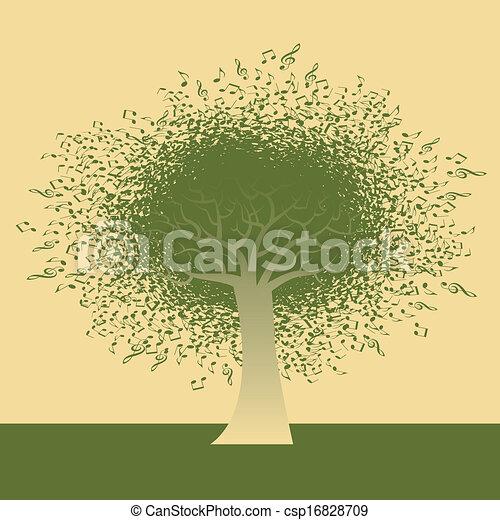 note, résumé, arbre, musical - csp16828709