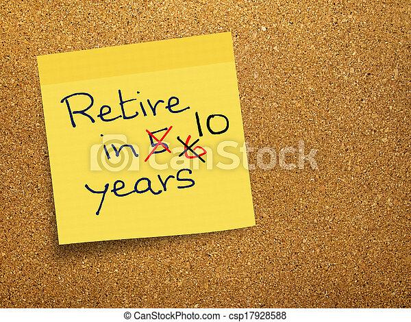 note, retraite, collant, -, bouchon, retard, pension - csp17928588