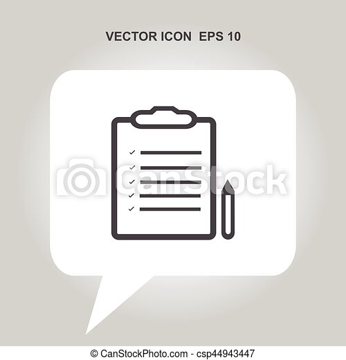 note sign with pen vector icon - csp44943447