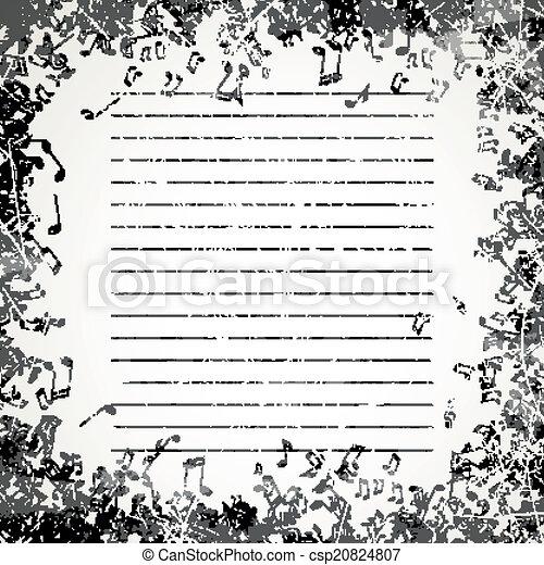 note, vettore, musica, fondo - csp20824807