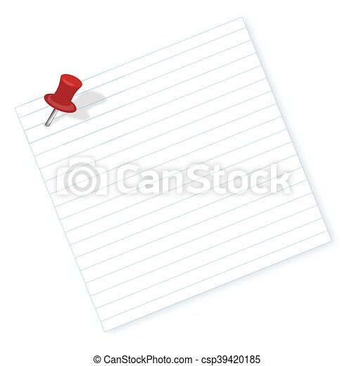 Note with a paper clip. Isolated on a white background with a shadow - csp39420185