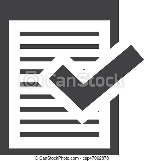 Note with checkmark icon in black on a white background  Vector illustration