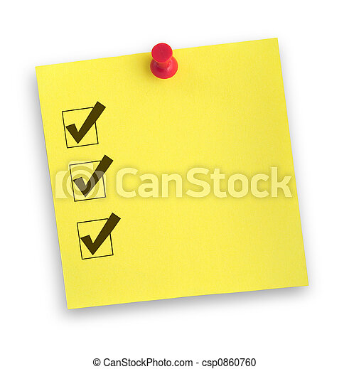 note with completed checklist - csp0860760