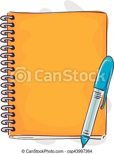 Notebook and Pen Cartoon Style - csp43997364