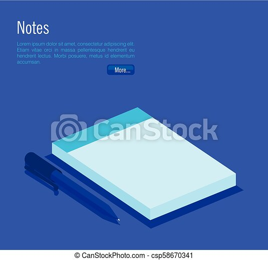 notebook and pen isometric icons - csp58670341
