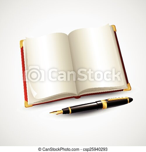 Notebook and pen. Vector illustration - csp25940293