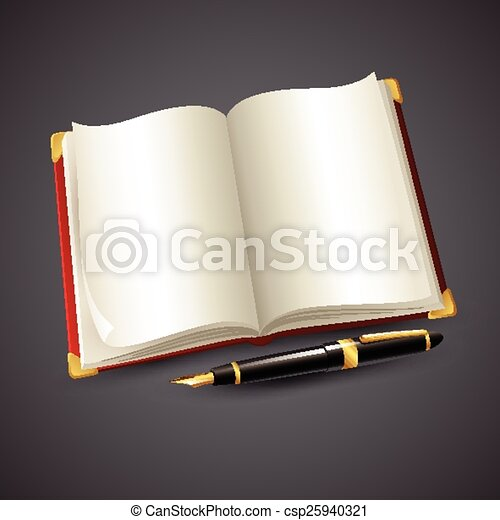 Notebook and pen. Vector illustration - csp25940321
