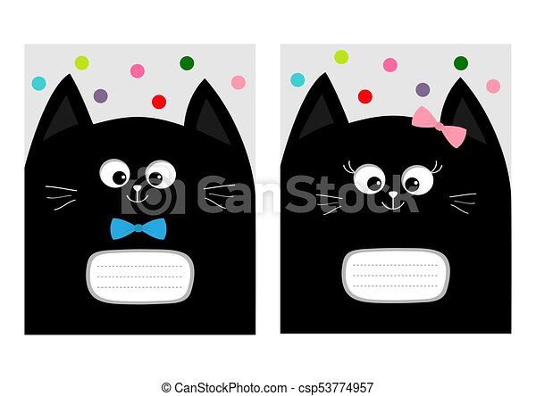 Notebook cover composition book template. black cat kitty head with ...