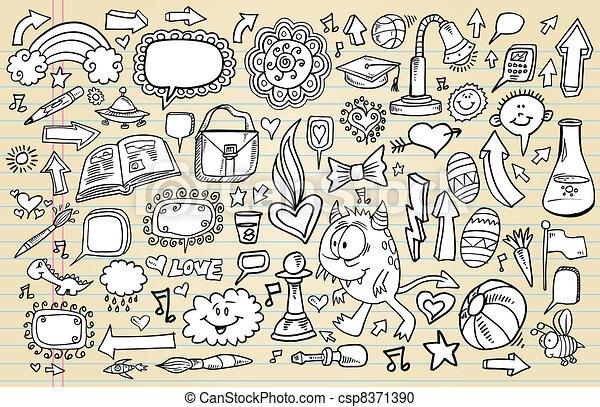 Notebook Doodle Sketch Design set - csp8371390