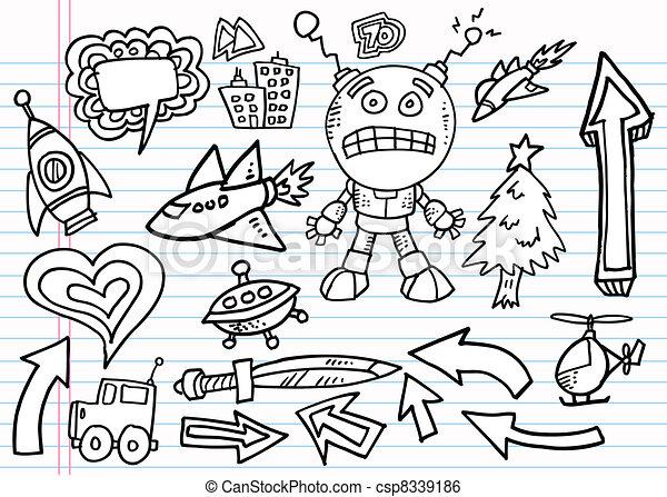 Notebook Doodle Sketch vector set - csp8339186