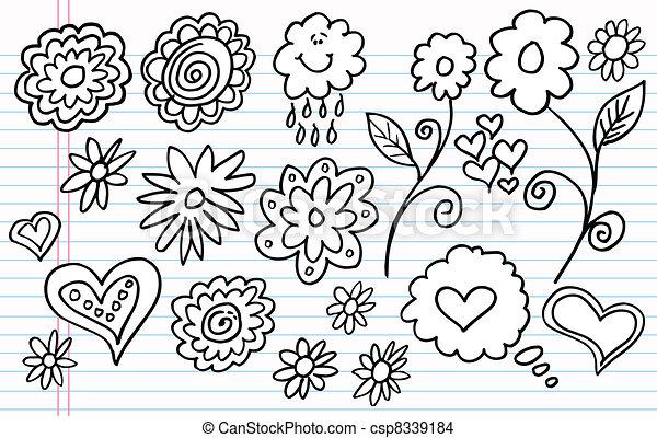 Notebook Doodle Sketch vector set - csp8339184