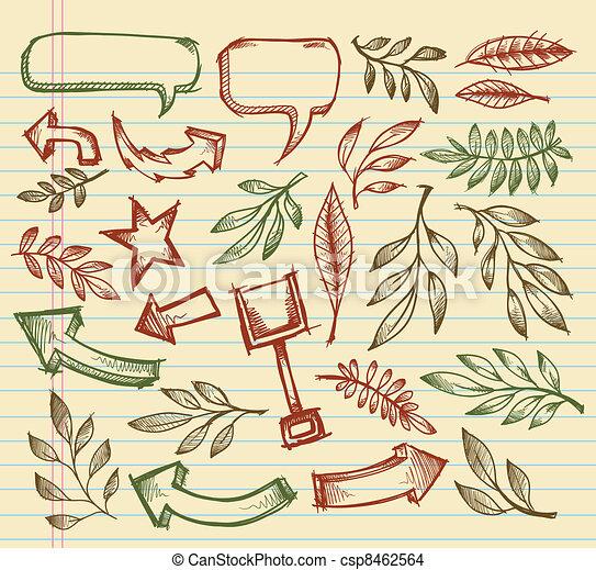 Notebook Doodle Sketch Vector set - csp8462564
