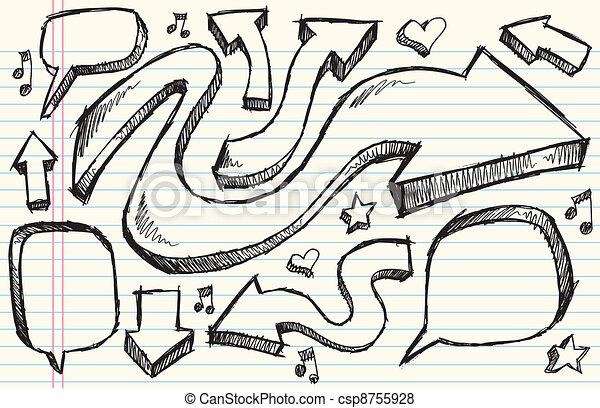 Notebook Doodle Sketch Vector Set - csp8755928