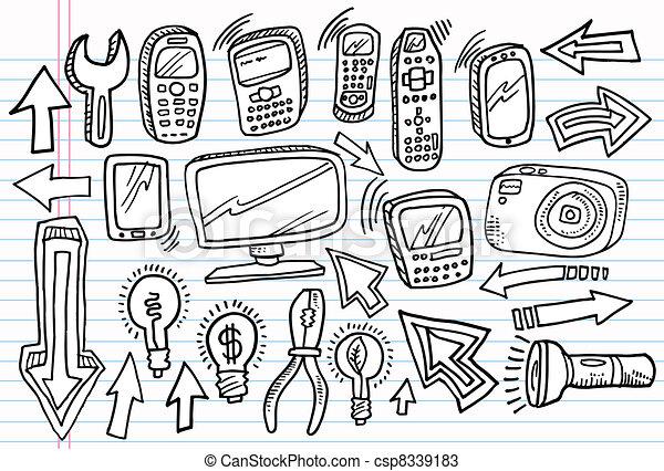 Notebook Doodle Sketch vector set - csp8339183