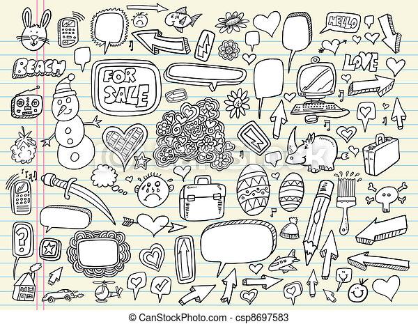 Notebook Doodle Sketch Vector Set - csp8697583