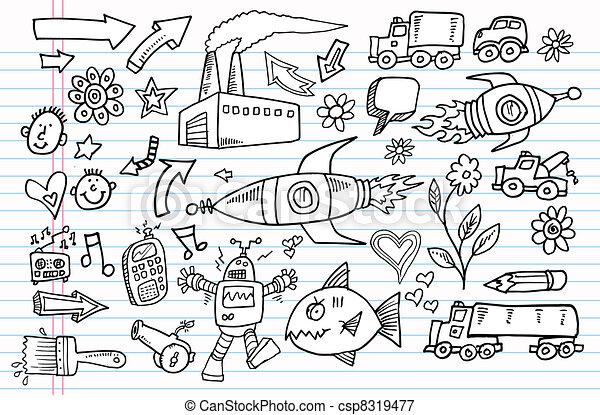 Notebook Doodle Sketch Vector set - csp8319477