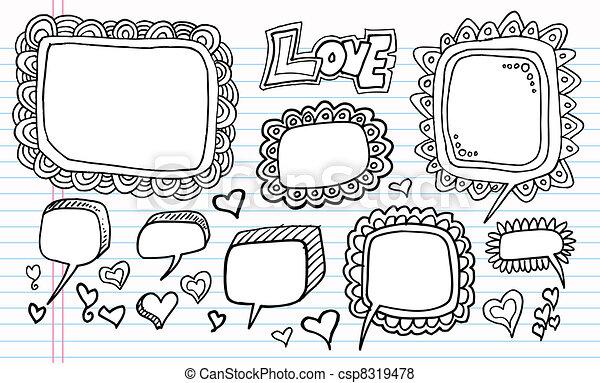 Notebook Doodle Speech Bubble set - csp8319478