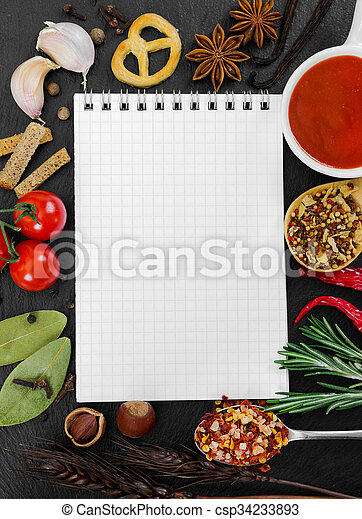 Notebook for recipes and spices on black background notebook to notebook for recipes and spices on black background csp34233893 forumfinder Image collections