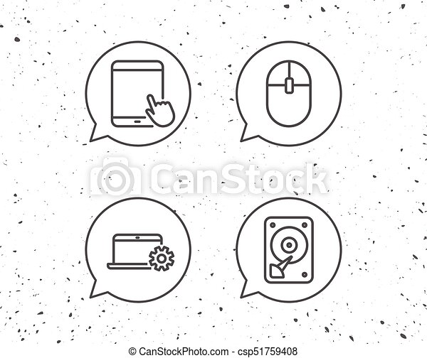 Notebook Hard Disk Drive And Tablet Pc Icons Speech Bubbles With