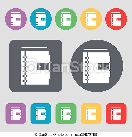 notebook icon sign. A set of 12 colored buttons. Flat design. Vector - csp39872799