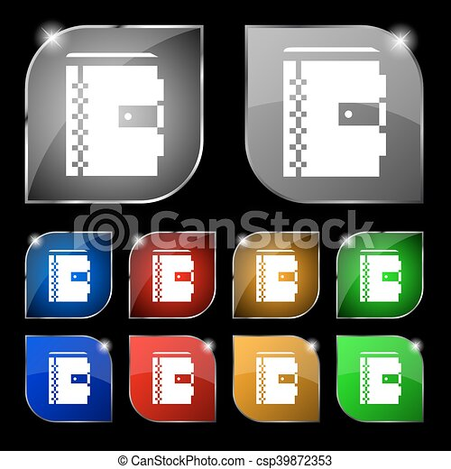 notebook icon sign. Set of ten colorful buttons with glare. Vector - csp39872353