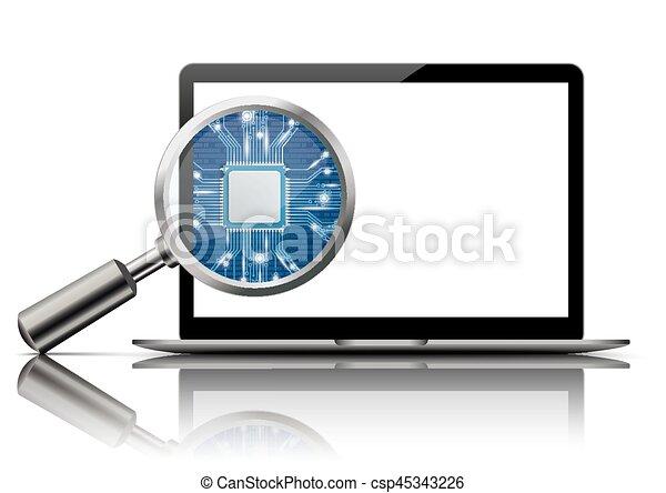 Notebook Loupe Microchip Mirror - csp45343226