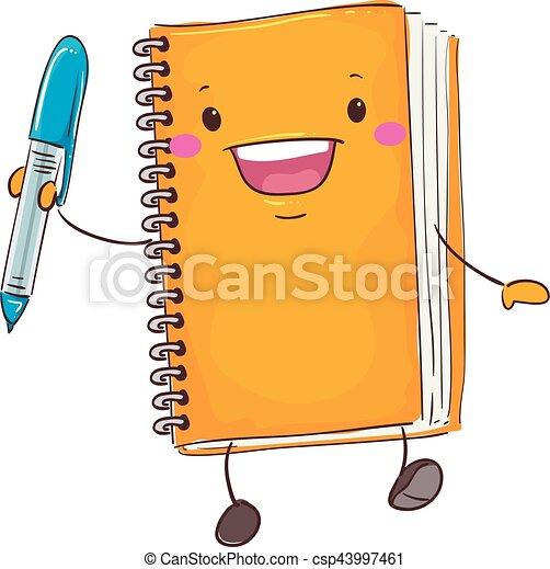 vector illustration of notebook mascot holding a pen clip art vector rh canstockphoto com clipart notebook and pencil clipart notebook and pencil