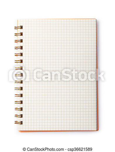 notebook on white background open blank page notebook on white