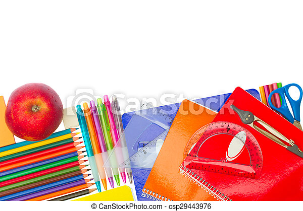 Notebook with school supplies - csp29443976