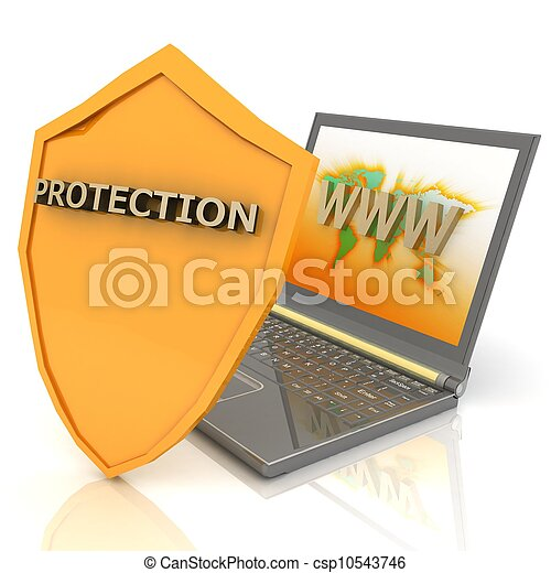 Notebook with shield - Internet security concept - csp10543746