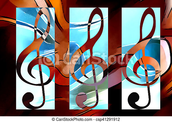 Notenschluessel, abstrakt, modern, thema, musik,... Stockfotografie ...