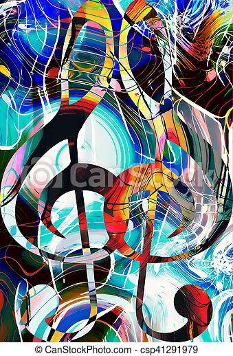 Notenschluessel, abstrakt, modern, thema, musik, hintergrund, design ...