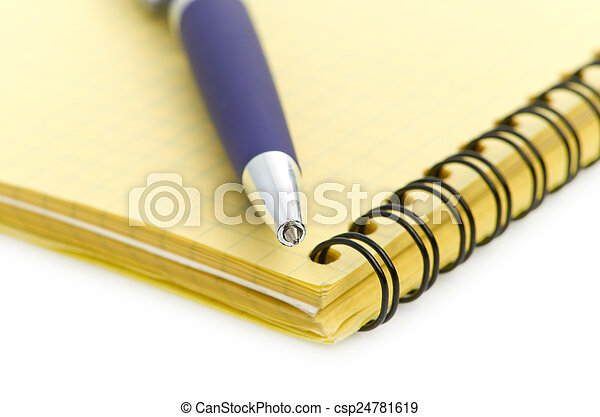 notepad and pen isolated on white background - csp24781619