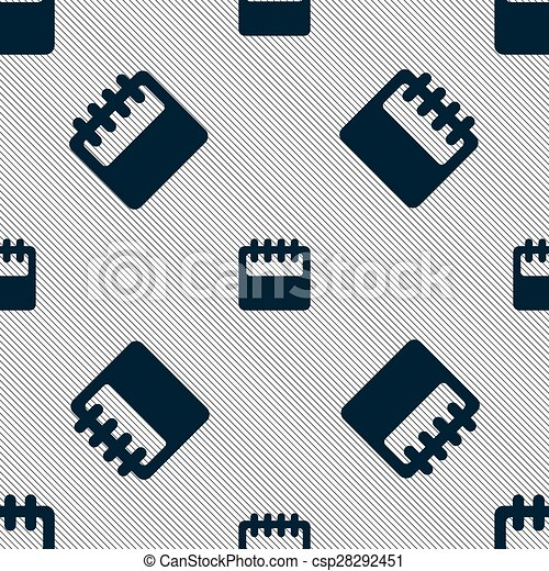 Notepad, calendar icon sign. Seamless pattern with geometric texture. Vector - csp28292451