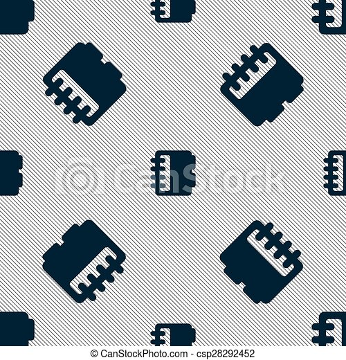 Notepad, calendar icon sign. Seamless pattern with geometric texture. Vector - csp28292452